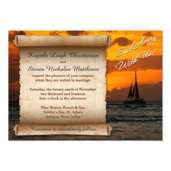 wedding | sail away with us! | sailboat | sunset invitation