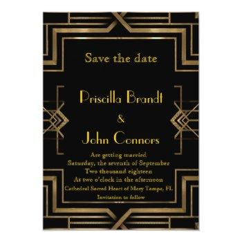 wedding, save the date, black & gold, great-gatsby invitation