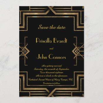 wedding save the date,black,great-gatsby,script invitation