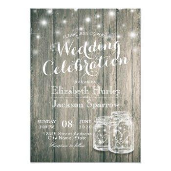 wedding shower rustic wood mason jar string lights invitation