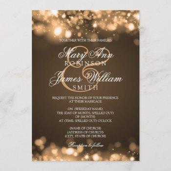 wedding sparkling lights gold invitation