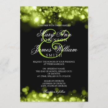 wedding sparkling lights lime black invitation