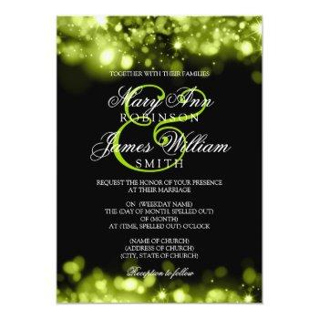 wedding sparkling lights lime black invitation