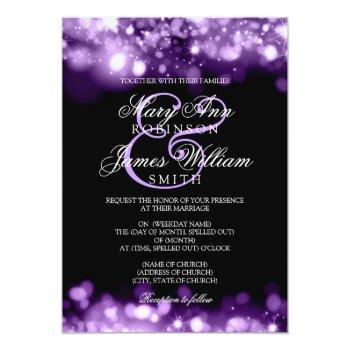 wedding sparkling lights purple invitation