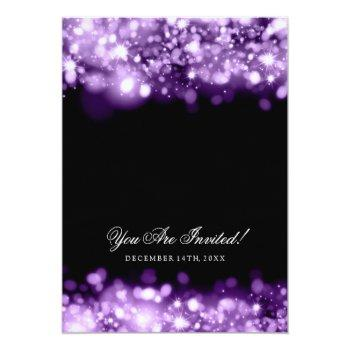 Small Wedding Sparkling Lights Purple Invitation Back View