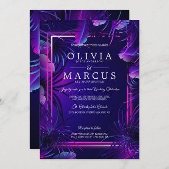 wedding   stunning neon tropical foliage invitation