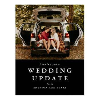 wedding update change the date black photo postcard