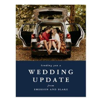 wedding update change the date navy photo postcard