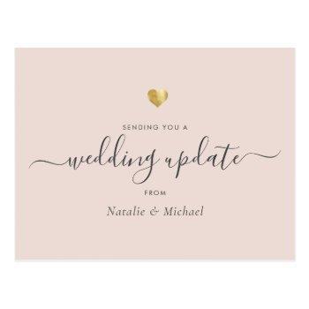 wedding update elegant script gold blush pink postcard