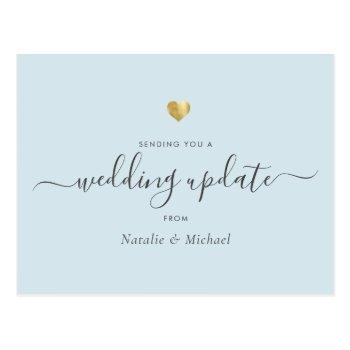 wedding update elegant script gold light blue postcard