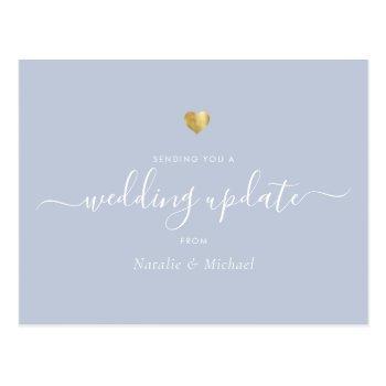 wedding update elegant script gold light dust blue postcard