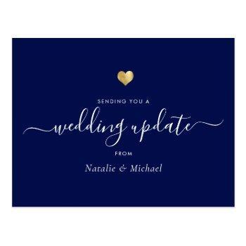 wedding update postponed elegant script gold blue postcard