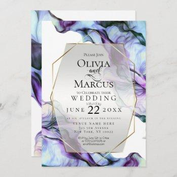 wedding | vibrant teal indigo abstract ink invitation