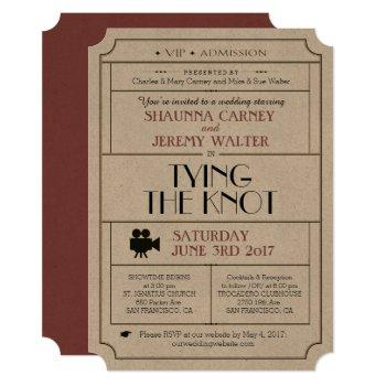 wedding vintage ticket invite / cinema film theme