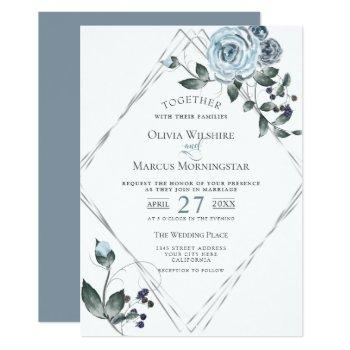 wedding watercolor dusty blue floral silver frame invitation