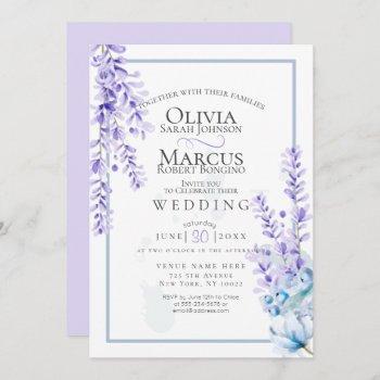 wedding | watercolor lavender - dusty blue florals invitation