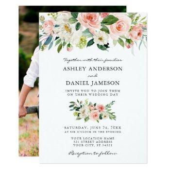 wedding watercolor pink floral photo back invitation