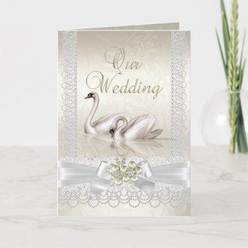 wedding white swans beige pearl lace photo invitation