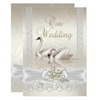 wedding white swans cream pearl lace damask invitation