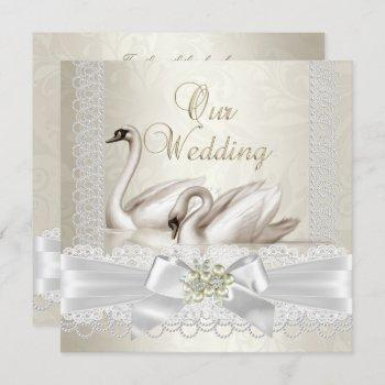 wedding white swans cream pearl lace damask sq invitation