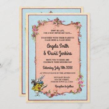wedding wonderland rabbit vintage floral invite