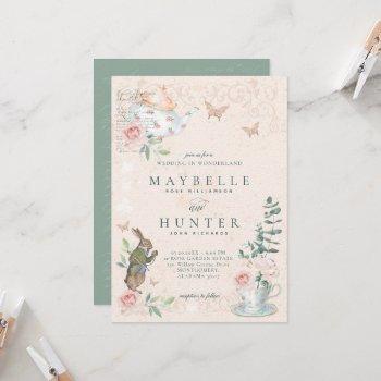 wedding wonderland vintage alice in wonderland invitation