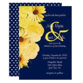 wedding yellow roses & daisies on dark blue invitation