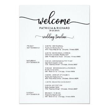 Small Weekend Wedding Schedule Elegant Calligraphy Invitation Front View