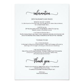 Small Weekend Wedding Schedule Elegant Calligraphy Invitation Back View