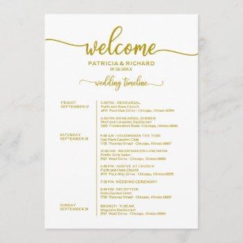 weekend wedding schedule elegant gold calligraphy invitation