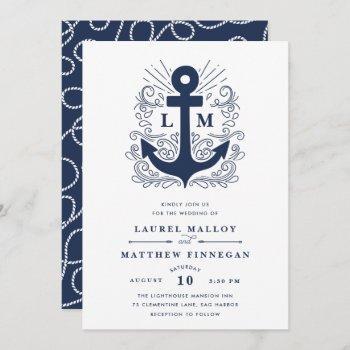 well anchored   nautical wedding invitation