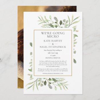 were going micro downsized photo wedding invitation