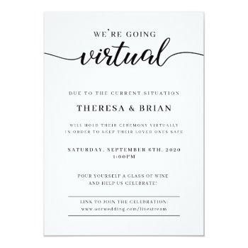 Small We're Going Virtual Quarantine Wedding Invitation Front View