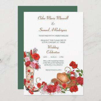western boot red roses wedding invitation