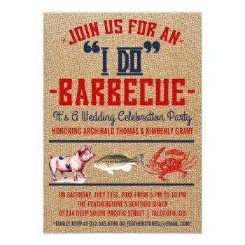 """Small Western """"i Do"""" Barbecue Wedding Party Invitations Front View"""