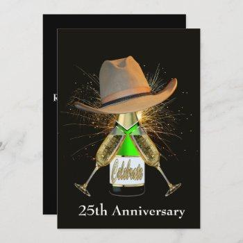 western party champagne and cowboy hat custom invitation