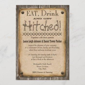 western style eat, drink and get hitched wedding invitation