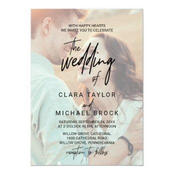 Small Whimsical Calligraphy | Faded Photo The Wedding Of Invitation Front View