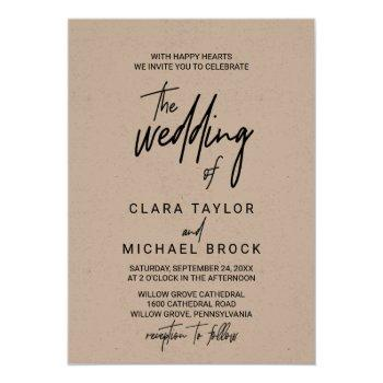 whimsical calligraphy kraft the wedding of invitation