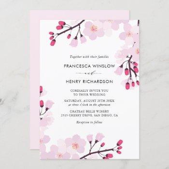 whimsical cherry blossoms wedding invitation
