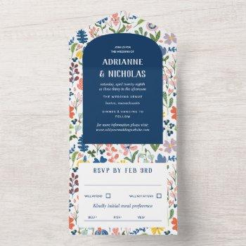 whimsical flowers blue wedding all in one invitation