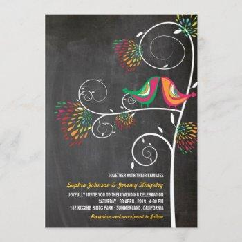 whimsical kissing summer love birds wedding invite