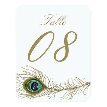 whimsical peacock feather table number card