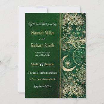 whimsy gold & green dreamcatcher feathers mandala invitation