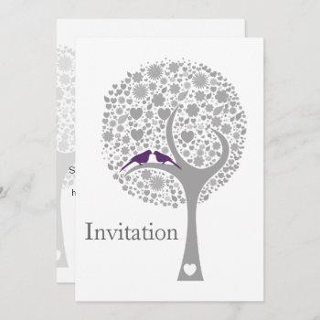 whimsy tree purple lovebirds mod wedding invites