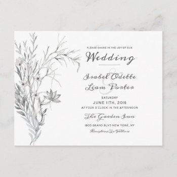 whispering wildflowers vintage wedding invitation