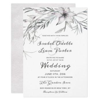 whispering wildflowers watercolor wedding ceremony invitation