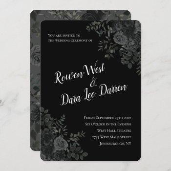 white and black rose gothic wedding invitations