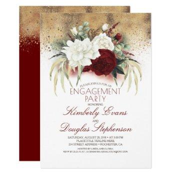 white and burgundy red floral engagement party invitation