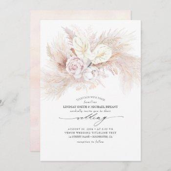 white anthurium and pampas grass elegant wedding invitation